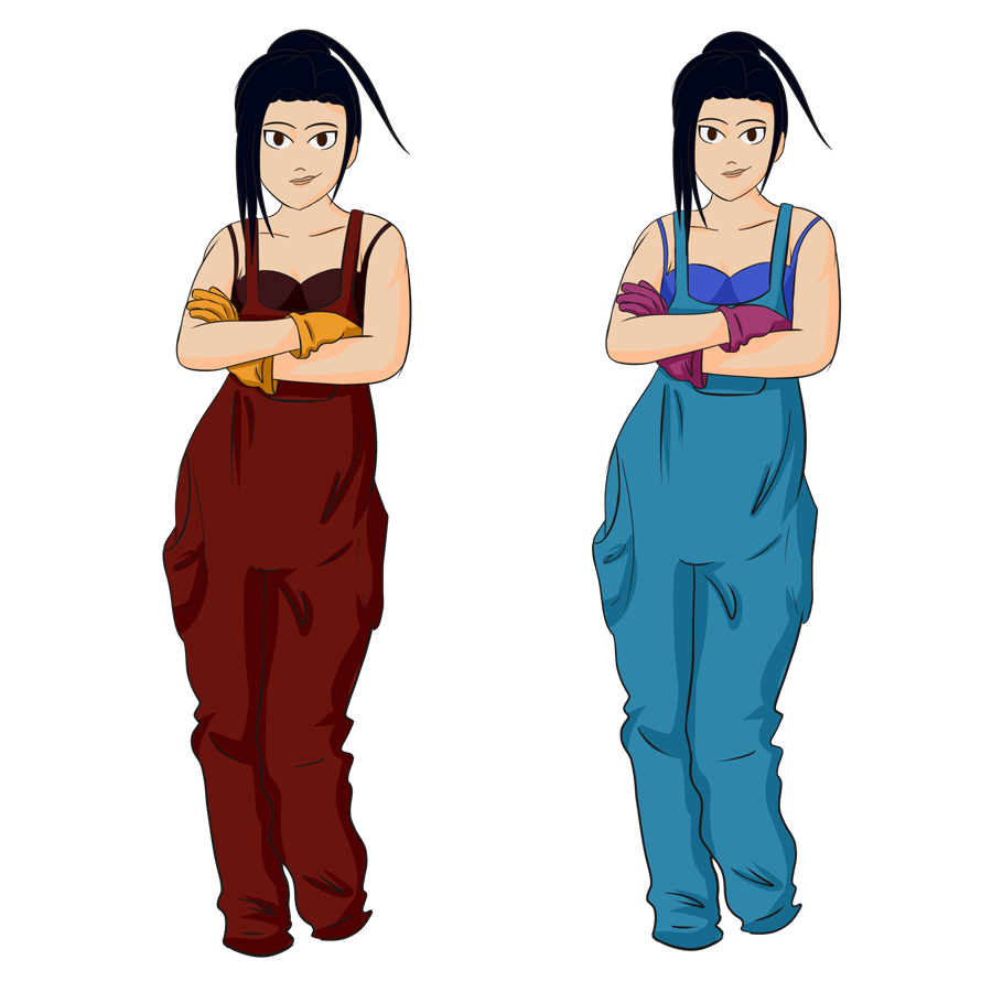 Two early concepts for Annie. Both are the same aside from the colours of her overalls, with red on the left and a light blue on the right.