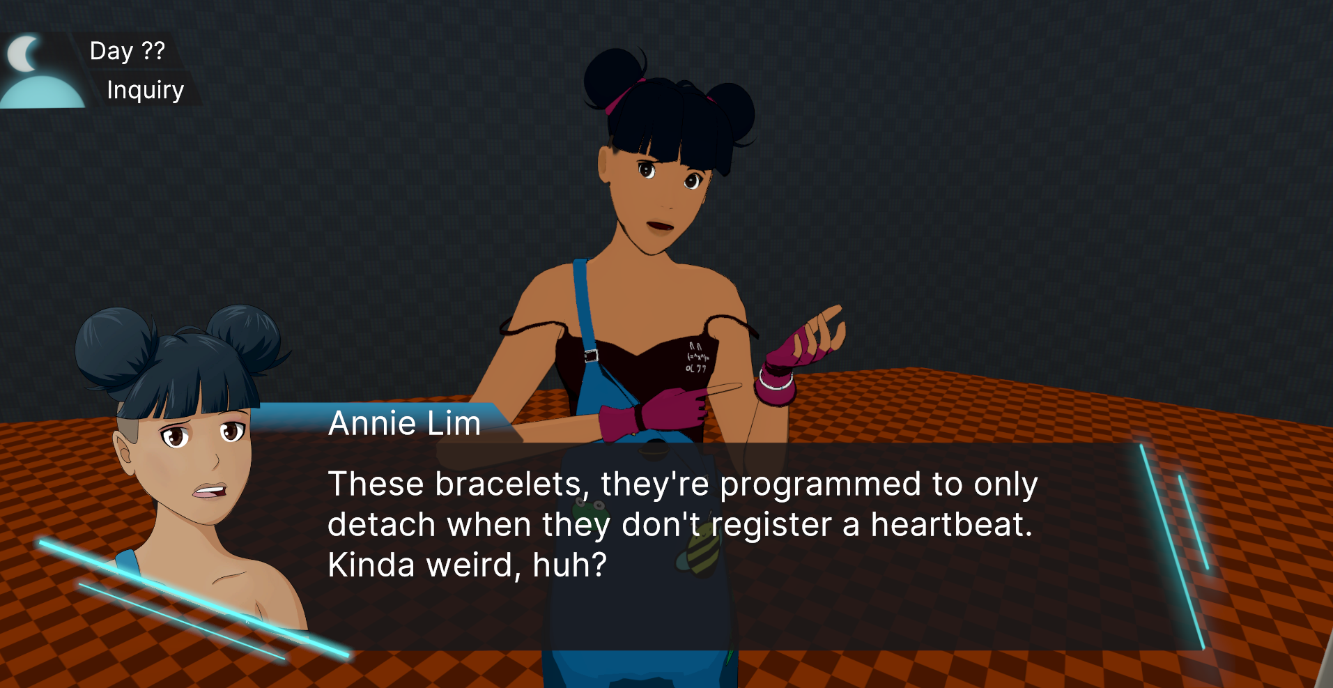 """A screenshot of Annie's 3D model in-game with a VN overlay. Her model and sprite look skeptical and she is showing off a bracelet on her wrist whilst saying """"These bracelets, they're programmed to only detach when they don't register a heartbeat. Kinda weird, huh?"""""""